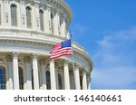 Stock photo capitol building dome detail and waving american flag washington dc united states 146140661