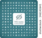 set of 145 quality icons for...