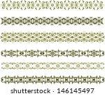 set of green floral vintage... | Shutterstock . vector #146145497