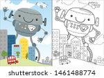 Vector Cartoon Of Robot In The...