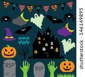 Vector Halloween Set With Scar...