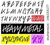handmade heavy metal typeface  | Shutterstock .eps vector #146153177
