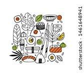 sushi doodle composition.... | Shutterstock .eps vector #1461648941