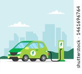 electric car charging on city... | Shutterstock .eps vector #1461696764