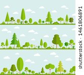 collection of green trees and... | Shutterstock .eps vector #1461806891