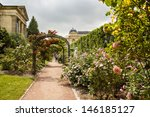 Stock photo garden of roses in the jardin de plant in paris france eastern part of the garden with it s 146185127