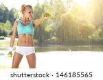 fitness instructor exercising... | Shutterstock . vector #146185565