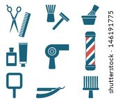 Barber and hairdresser silhouette icons set 3