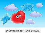 flying heart on blue sky  ... | Shutterstock . vector #14619538