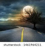 night scary landscape with dead ... | Shutterstock . vector #1461964211