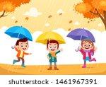 Stock vector happy kids autumn vector illustration 1461967391