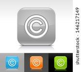 copyright icon. blue  orange ...