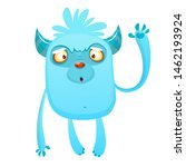 Stock photo cartoon happy bigfoot cute excited monster illustration for halloween 1462193924