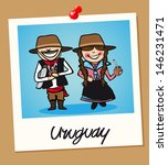 Uruguayan man and woman cartoon couple in vintage instant photo frame. - stock photo