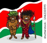Kenyan man and woman cartoon couple with national flag background. - stock photo