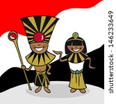 Egyptian man and woman cartoon couple with national flag background. - stock photo