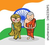Indian man and woman cartoon couple with national flag background. - stock photo