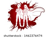 young boy and girl standing... | Shutterstock .eps vector #1462376474