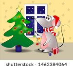 mouse decorates the christmas... | Shutterstock .eps vector #1462384064