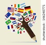 Global countries  concept pencil tree design. - stock photo
