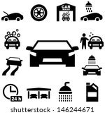 Stock Vector Car Wash Icons on Car Wash Posters Clip Art