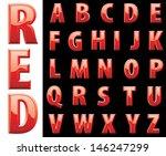 vector red shiny alphabet | Shutterstock .eps vector #146247299