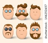 Egg Characters Face Set. Vecto...
