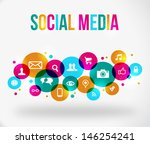 colorful social network concept.... | Shutterstock . vector #146254241