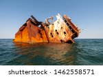 Rusty Ships On The Sea Near Th...