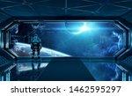 Astronaut In Futuristic Blue...