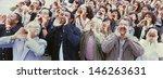 panoramic shot of crowd... | Shutterstock . vector #146263631