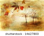 autumn alley  - artistic picture in painting style - stock photo