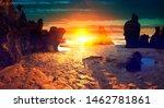 scenic beach landscape and... | Shutterstock . vector #1462781861