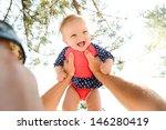 happy baby girl in her prink... | Shutterstock . vector #146280419