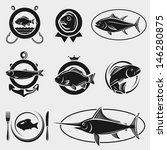 Fish stamps and labels set. Vector - stock vector