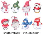 set of christmas cartoon... | Shutterstock . vector #1462835804