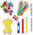school supplies groups clip art ... | Shutterstock .eps vector #146285795