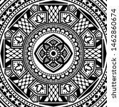 black and white ethnic mandala... | Shutterstock .eps vector #1462860674
