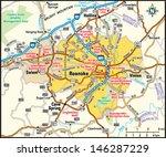 roanoke  virginia area map | Shutterstock .eps vector #146287229