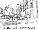 scene street illustration. hand ... | Shutterstock .eps vector #1462872644