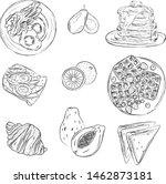 breakfast food hand drawn... | Shutterstock .eps vector #1462873181