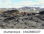 The remnants of the last volcanic eruptions between the year of 1975 and 1984 at Krafla Lava Field near Myvatn, Iceland in the summer