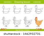 drawing tutorial a chicken.... | Shutterstock .eps vector #1462932731