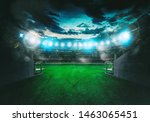 Small photo of Soccer stadium seen by the exit of the locker room tunnel