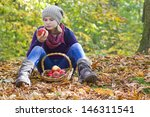 young girl with basket of... | Shutterstock . vector #146311541