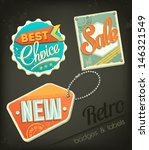 retro sale badges | Shutterstock .eps vector #146321549
