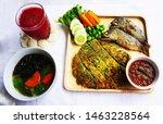 Stock photo  fried mackerel with shrimp paste sauce with rice berries nam prik kapi pla too 1463228564