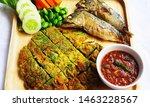 Stock photo  fried mackerel with shrimp paste sauce with rice berries nam prik kapi pla too 1463228567