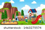 active boys and girls playing... | Shutterstock .eps vector #1463275574
