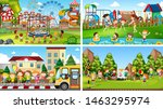 set of scenes in nature setting ... | Shutterstock .eps vector #1463295974
